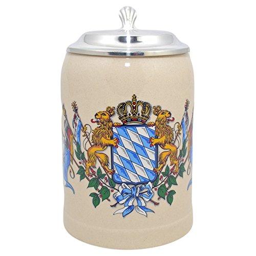 Bavariashop Steinkrug Bayern Incl. Zinndeckel, 0,5 Liter, Grau, Wappen Freistaates Bayern, Löwe, Krone, Maßkrug, Bierkrug