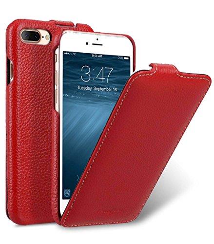 MELCKO Edle Tasche für Apple iPhone 8 Plus und 7 Plus (5.5 Zoll) / Case Außenseite aus beschichtetem Leder/Schutz-Hülle aufklappbar/Flip-Case/Etui / Ultra-Slim Cover/Rot 7-leder Etui