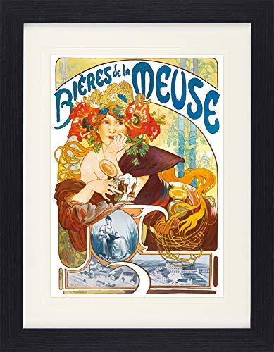 1art1 113905 Alphonse Mucha - Biere Von Der Maas, 1897 Gerahmtes Poster Für Fans Und Sammler 40 x 30 cm -