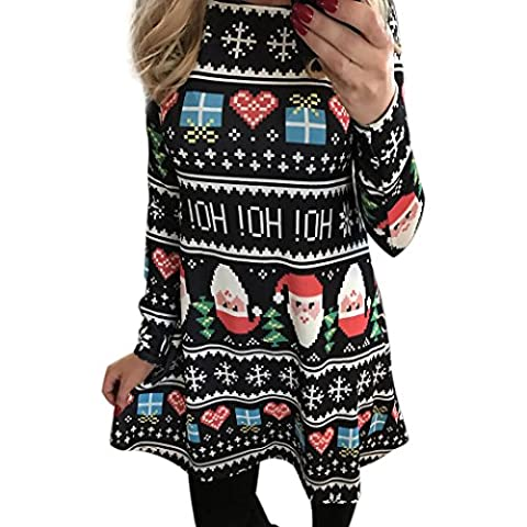 OVERMAL Femmes Xmas Imprimer Swing NoëL Manches Longues Flared Robes