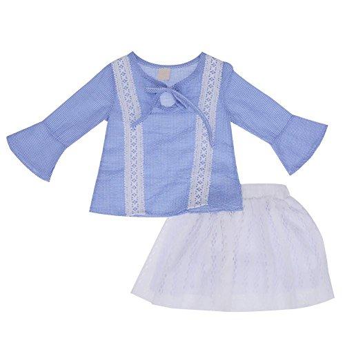 2pcs Set Fall Korea Style Kids Girls Blue Tops Princess Dress (90cm)