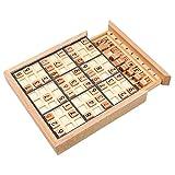 ZooBoo Zahlenspiel Sudoku Holzbrett Spielzeug - Luxusausgabe Hölzern Spielbrett Jiugongge Puzzle Nummeriert Würfel Umweltfreundlich Intelligenz Entwicklung für Kinder Anfänger mit Aufgaben - 81 Stück Buchenholz (Schwarz)
