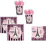 48-teiliges Party-Set a day in Paris - Teller Becher Servietten mit Eifelturm für 16 Personen