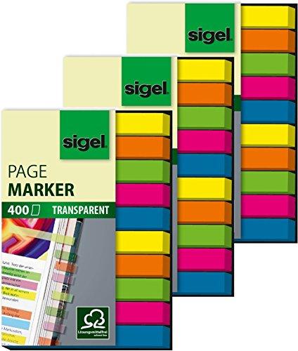 Sigel HN617 Haftmarker Film, micro, 3x 400 Streifen Maxi Pack, 6x5 Farben im Pocket, grün, blau, pink, gelb, orange, Streifenformat: 50 mm x 6 mm