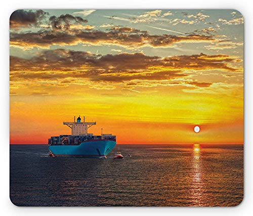 Nautical Mouse Pad, Loaded Container Ship Heads to Urban Waters During Sunrise Horizon Marine Theme Gaming Mousepad Office Mouse Mat Orange Blue Horizon-lager