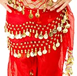 (Red) - Child Kids Girls Children's Belly Dance Hip Scarf - Chiffon Costume