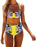 Ninimour Women Vintage Floral Push Up Swimsuit Bikini Top Bottom Set