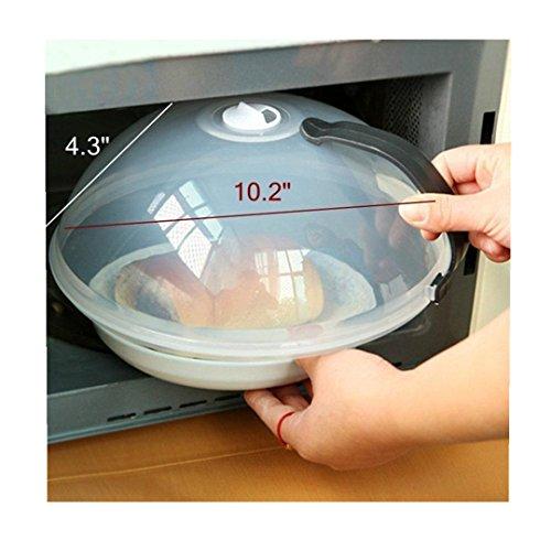 HLHN Mikrowellendeckel mit Henkel, Lebensmittel Multifunktions Spritzschutz ,Qualität aus Kunststoff, 26*10.5cm,Transparent (Schwarz)