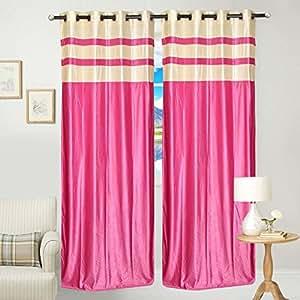 Trendz Decor 2 Piece Eyelet Polyster Curtain - 7ft, Pink