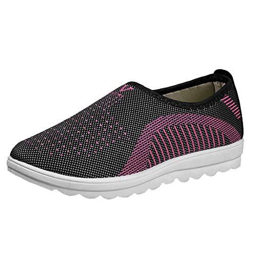 Alaso Soldes Chaussures Femme Tennis à Enfiler Pas Cher Trainers en Maille Plates Été Comfort Slip-on Shoes Baskets Chaussures de Condu