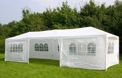 FoxHunter Waterproof 3m x 9m PE Gazebo Marquee Awning Party Tent Canopy White 120g PE Power Coated Steel Frame