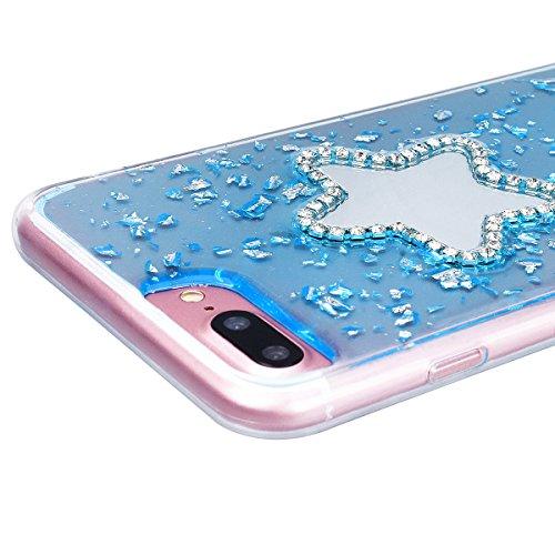 HB-Int Hülle für iPhone 7 Silikon Transparent Case Bling Glitter Schutzhülle mit Sternform Spiegel Durchsichtig Blau Pailletten Bumper Cover Handytasche Blau
