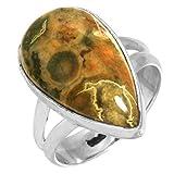 Solido 925 Sterling Argento Da collezione Gioielli Naturale Riolite Pietra preziosa Anello Dimensioni 10