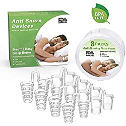 Dispositif Anti Ronflement Efficace Nez Snore Stopper Dilatateur Nasal Contre le Ronflement,Anti-ronflement Clip Stop Ronflement Hommes Femmes 8 pièces