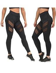 Pantalones mujer deporte Sannysis yoga pantalón chandal negro transparente (m)