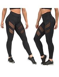 Pantalones mujer deporte Sannysis yoga pantalón chandal negro transparente (Small)