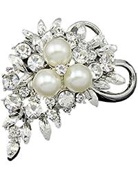 YAZILIND delicada perla flores incrustaciones de diamantes de imitación de aleación broche corsé mujeres niñas accesorios