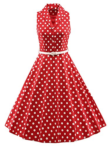 LUOUSE 'Luna' Solid Farben Vintage Serenity 50er Swing Kleid,DotRed,XXXL