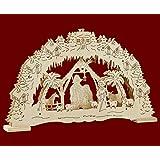 """LED - Schwibbogen Lichterbogen Leuchter """"Christi Geburt"""" 10flammig natur aus Holz ca. 43 cm breit ca. 28 cm hoch Weihnachten Advent Geschenk (83077)"""