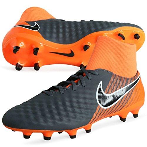 Nike Unisex-Kinder Jr Obra 2 Academy DF FG Fußballschuhe, Mehrfarbig (Gris Foncé/Orange Total/Blanc/Noir 080), 38 EU (Orange Nike-schuhe Für Kinder)