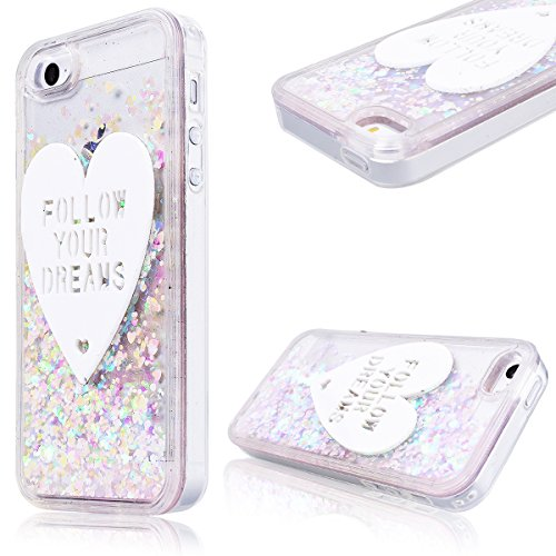 GrandEver Coque iPhone 5 / 5s / SE Cœur Motif Design Transparente à Paillette Rose Dur Plastique PC Glitter Liquide Crystal Antichoc Case Etui Housse pour iPhone 5 / iPhone 5s / iPhone SE 4