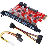Inateck KT5001 5 Ports USB 3.0 PCI Express Card and 15 Pin Power Connector - Red