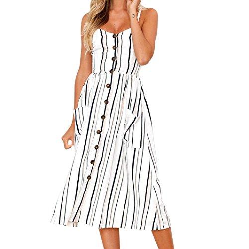 a2782b56b6ad CLOOM Partykleid Sommer Abendkleider Button Kleider Damen Sommerkleid  Irregulär Gestreift Rockabilly Sommer Kleid Festliche Midi Kleid