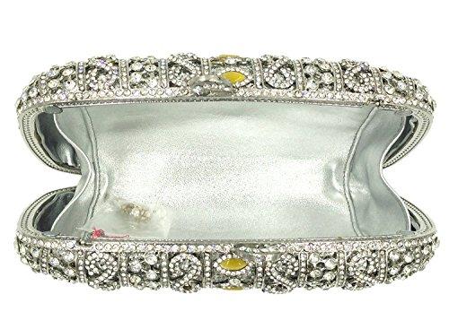 Partito Pochette Donna Sera Borsetta Portafoglio Cerimonia Borsa Sposa Spalla Frizioni Eleganti Argento Silver