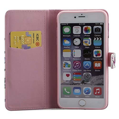 Hülle für iPhone 6S Plus, Tasche für iPhone 6 Plus, Case Cover für iPhone 6 Plus, ISAKEN Malerei Muster Folio PU Leder Flip Cover Brieftasche Geldbörse Wallet Case Ledertasche Handyhülle Tasche Case S Schmetterling Violett