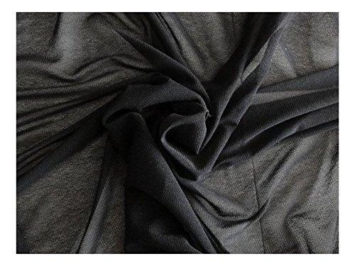 Fabrics-City SCHWARZ HOCHELASTISCH ÜBER 100% FEIN NETZSTOFF STOFF STOFFE, 2694 (Stretch-netz Elastischem)