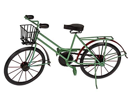 OOTB Deko-Holz/Metall-Fahrrad mit Korb, Rot/Grün/Schwarz, 48.7 x 13 x 26 cm