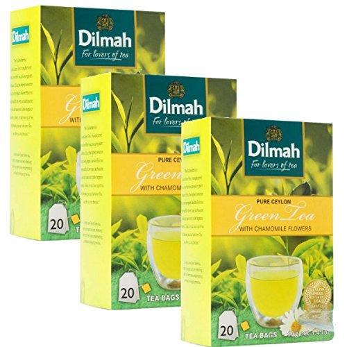 Dilmah reiner grüner Tee mit Ceylon-Kamillengeschmack - 20 Teebeutel X 3 Pack - feinster grüner Tee aus Sri Lanka mit Kamillenblüten (Frühlings-rollen)