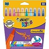 BIC Kids Fasermaler visaquarelle – Pinsel-Fasermaler für Kinder mit flexibler Pinselspitze – 1 x 10 Stifte in leuchtenden Farben