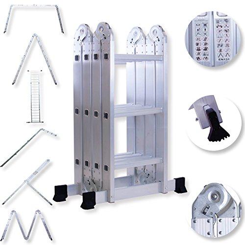 Masko 6in1 Mehrzweckleiter 3.40M ALU Anlegeleiter Klappleiter Stehleiter Aluminium Modell: 4 x 3 Stufen