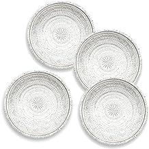 Plato de acompañamiento de piedra natural de color blanco con detalles. Plato artesanal de melamina