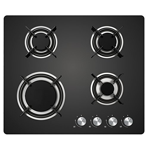51oYK1ZFBkL. SS500  - Cookology Gas-on-Glass Hob | 60cm, Built-in, Black Glass Cooktop & Auto Ignition