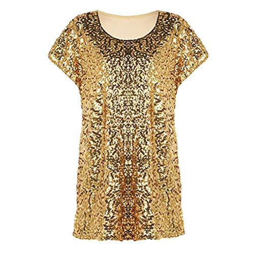 Mitlfuny Karnevalsparty Fancy Festival Zubehör,Frauen Pailletten Top Shimmer Glitter lose Fledermaus Ärmel Party Tunika Tops