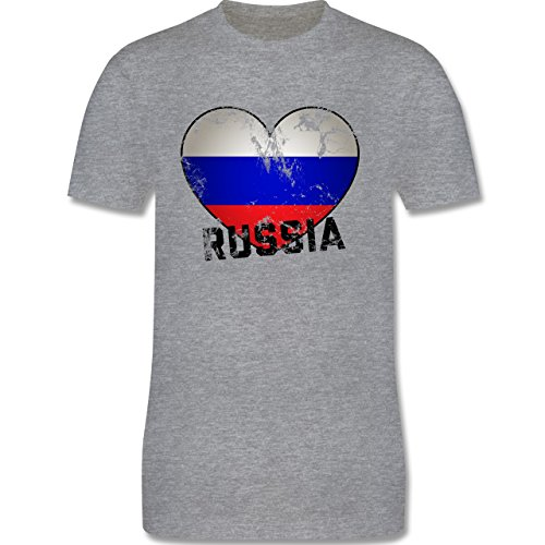 EM 2016 - Frankreich - Russia Herz Vintage - Herren Premium T-Shirt Grau Meliert