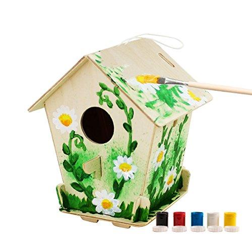 Galleria fotografica ROBOTIME 3D Jigsaw Puzzle in legno - Bird House con la Pittura Strumenti Educativi del Bambino Woodcraft Puzzle Kit Fai da te Giocattoli (Bird house 3)