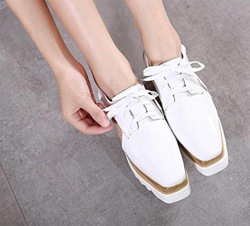 à Muffin chaussures carrée Spring de chaussures tête fond dames de ascenseur chaussures chaussures Mme White dentelle pente avec casual épais des chaussures chaussures tqXP1pPw