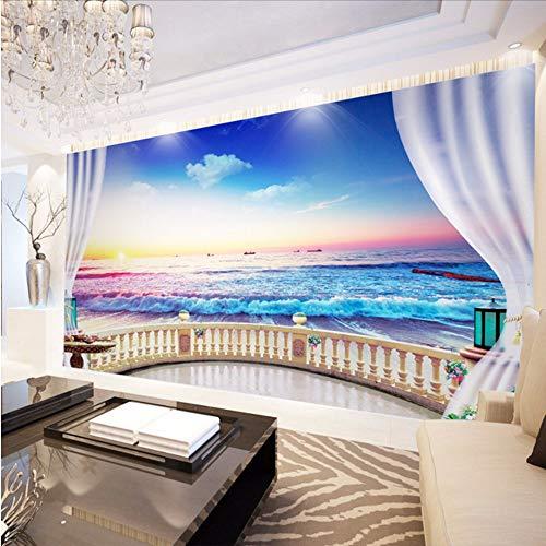 Lvabc Benutzerdefinierte 3D Foto Tapete Balkon Meerblick Vlies Fotografie Hintergrund Wandbild Tapete Wohnzimmer Schlafzimmer Wandbild Papier-200X140Cm