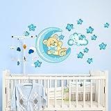 Wall Art r00318Pegatinas de Pared para niños, pequeño oso Buena de noche de luna, 60x 40x 0,1cm), multicolor/azul