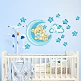 wall art R00318 Stickers muraux pour enfants Motif petit ours bonne nuit lune Multicolore/Bleu 60x 40x 0,1cm