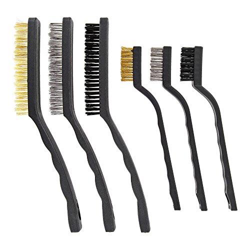 Gate-x Profi Bürsten zur Reinigung – 6 Hochwertige Reinigungsbürsten aus Stahl, Messing und Nylon – Optimal für Auto, Motorrad, Garten und Haushalt