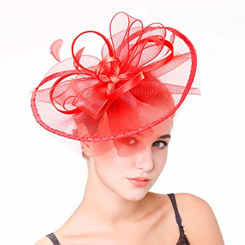 a8751ef1 Sunzeus Satin Ribbons Flowers Big Hats for Bridal Feathers Fascinators Women  Party Hat Hair Accessories-