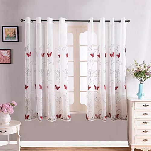 vorhänge mit Schmetterling-Stickerei Mustern Tülle Gardinen Decoschal für Wohnzimmer Schlafzimmer Fenster 2er Set je 160x140cm(HxB) Rot ()