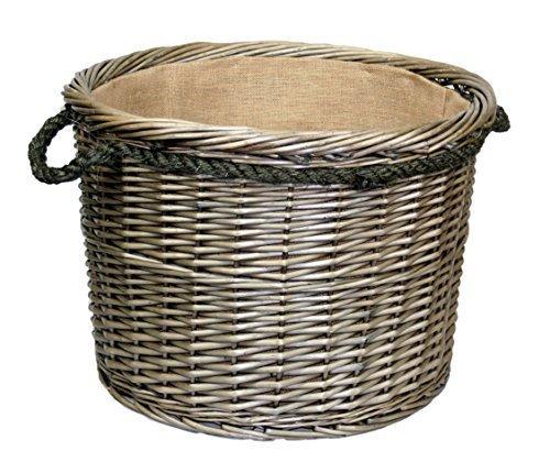 XL Antik gewaschen Seil verarbeitet Flechtweide Holzklotz Korb (Avon Holz)