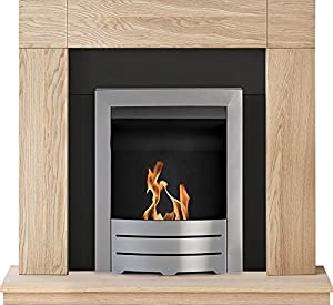 Adam Malmo Fireplace Suite in Oak with Colorado Bio Ethanol Fire in Brushed Steel, 39 Inch