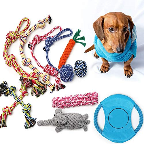 IW.HLMF Dog Puppy Rope Chew Playing Toys 11 Pack, Dog Rope Toys Puppy Chew Toys for Playtime Puppy Teething Toys, Dog Flying Disc, Washable Cotton Rope