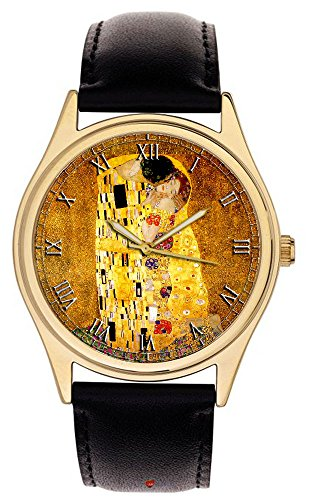 Gustav Klimt The Kiss Stunning Modern Art Masterpiece lebendigen Farben Collectible Armbanduhr